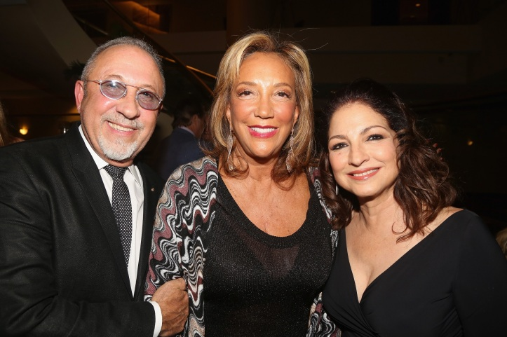 NEW YORK, NY - OCTOBER 07: (L-R)  Emilio Estefan, Denise Rich, and Gloria Estefan attend a special performance of ON YOUR FEET! The Story Of Emilio & Gloria Estefan, benefiting Gabrielle's Angel Foundation for Cancer Research at Marriott Marquis Theater on October 7, 2015 in New York City.  (Photo by Bruce Glikas/Getty Images for Gabrielle's Angel Foundation)