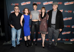 "NEW YORK COMIC CON -- ""Hunters Press Room"" -- Pictured: (l-r) Justin Dix, Prosthetics Creator; Natalie Chaidez, Executive Producer; Britne Oldford, Gale Anne Hurd, Executive Producer, Whitley Strieber -- (Photo by: Mike Coppola/NBC)"