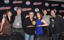 "NEW YORK COMIC CON -- ""Hunters Panel"" -- Pictured: (l-r) Gale Anne Hurd, Executive Producer; Whitley Strieber, Justin Dix, Prosthetics Creator; Natalie Chaidez, Executive Producer; Britne Oldford, Eric Goldman, Moderator -- (Photo by: Mike Coppola/Syfy)"