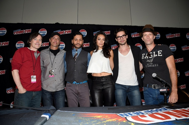 "NEW YORK COMIC CON -- ""The Expanse Screening and Q&A"" -- Pictured: (l-r) Mark Fergus, Hawk Ostby, Executive Producers ""Expanse""; Cas Anvar, Florence Faivre, Steven Strait, Thomas Jane -- (Photo by: Mike Coppola/Syfy)"