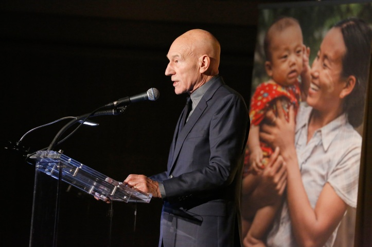 NEW YORK, NY - NOVEMBER 04:  Sir Patrick Stewart speaks onstage at the Annual Freedom Award Benefit hosted by the International Rescue Committee at the Waldorf Astoria Hotel on November 4, 2015 in New York City.  (Photo by Brian Ach/Getty Images for International Rescue Committee)