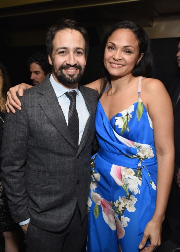 NEW YORK, NY - APRIL 30: Lin-Manuel Miranda and Karen Olivo attend The Eugene O'Neill Theater Center's 18th Annual Monte Cristo Award Honoring Lin-Manuel Miranda at Edison Ballroom on April 30, 2018 in New York City. (Photo by Jenny Anderson/Getty Images for The Eugene O'Neill Theater Center)